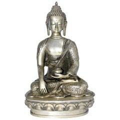 Large Silver Bronze Buddha