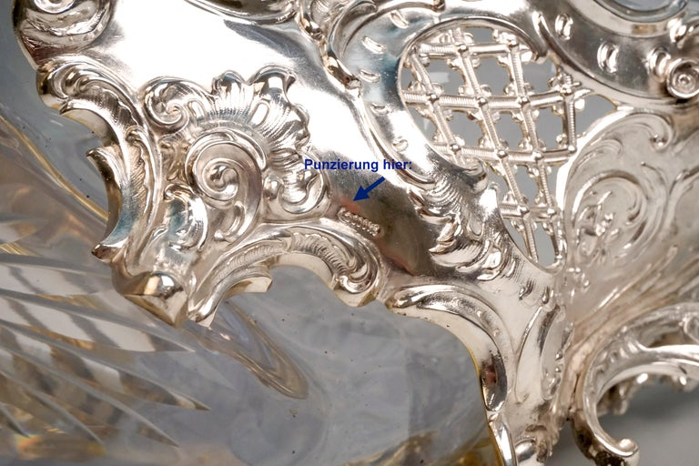 Large Silver Centerpiece Historicism Flower Bowl With Glass Liner, Germany, 1895 For Sale 5