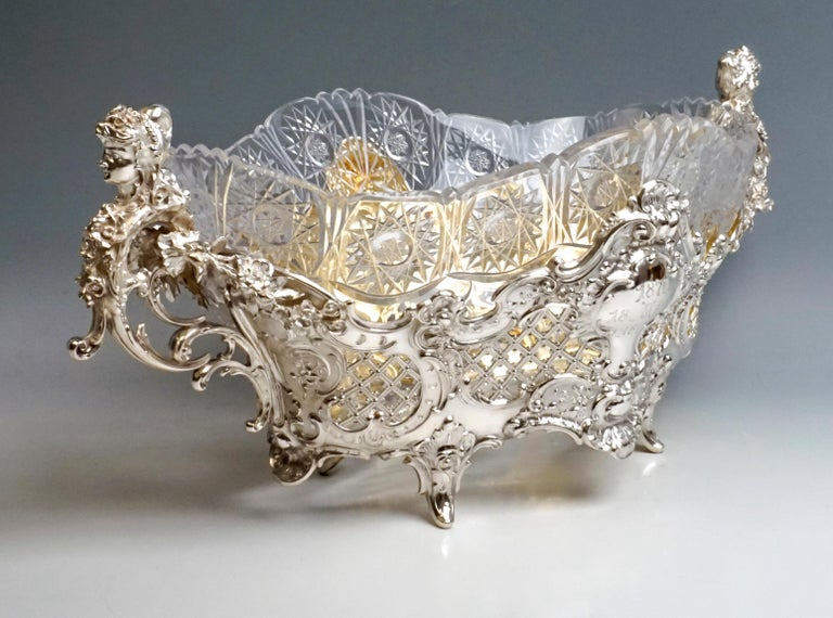 Late Victorian Large Silver Centerpiece Historicism Flower Bowl With Glass Liner, Germany, 1895 For Sale
