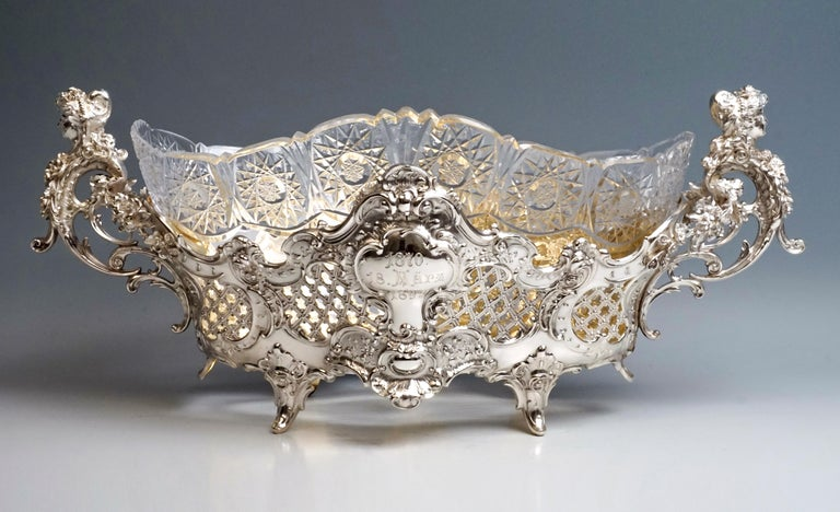 Large Silver Centerpiece Historicism Flower Bowl With Glass Liner, Germany, 1895 For Sale 4