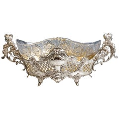 Large Silver Centerpiece Historicism Flower Bowl With Glass Liner, Germany, 1895