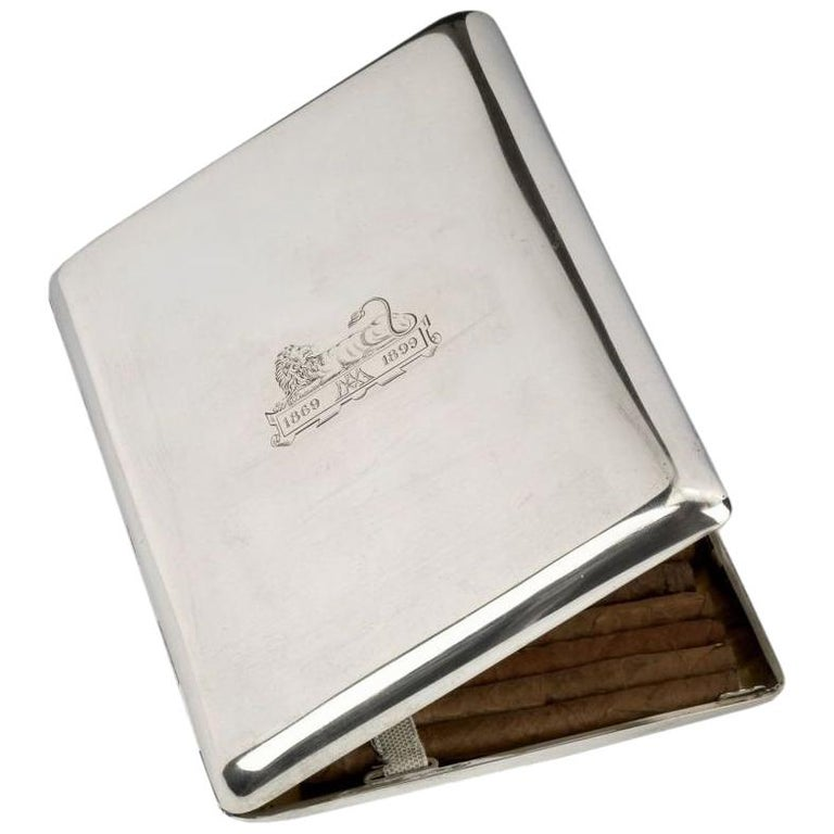 Large silver cigarette case, c. 1930  For Sale