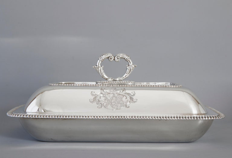 Large Silver Entree Dish with Warming Dish London 1814 For Sale 8