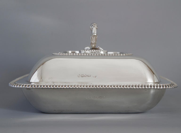 Large Silver Entree Dish with Warming Dish London 1814 For Sale 9