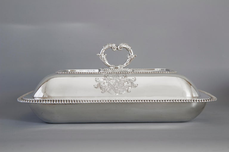 Large Silver Entree Dish with Warming Dish London 1814 For Sale 10
