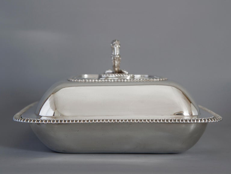 Large Silver Entree Dish with Warming Dish London 1814 For Sale 11