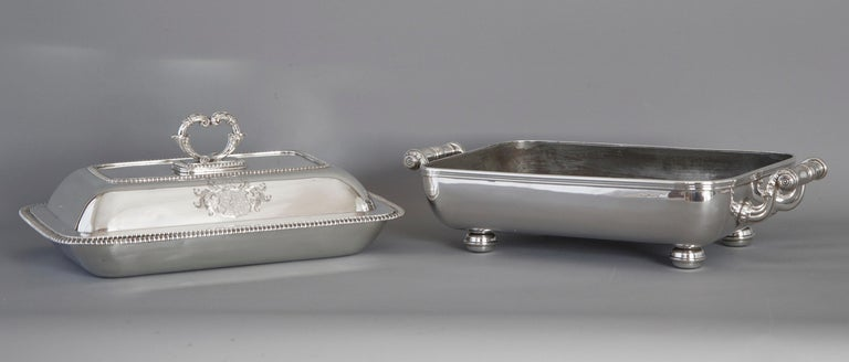 British Large Silver Entree Dish with Warming Dish London 1814 For Sale