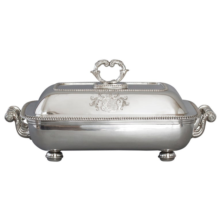 Large Silver Entree Dish with Warming Dish London 1814 For Sale
