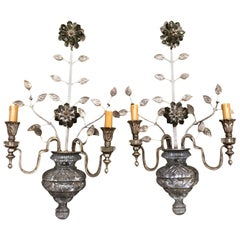 Large Silver Finish and Crystal Maison Baguès Attribute Pair of 2-Light Sconces