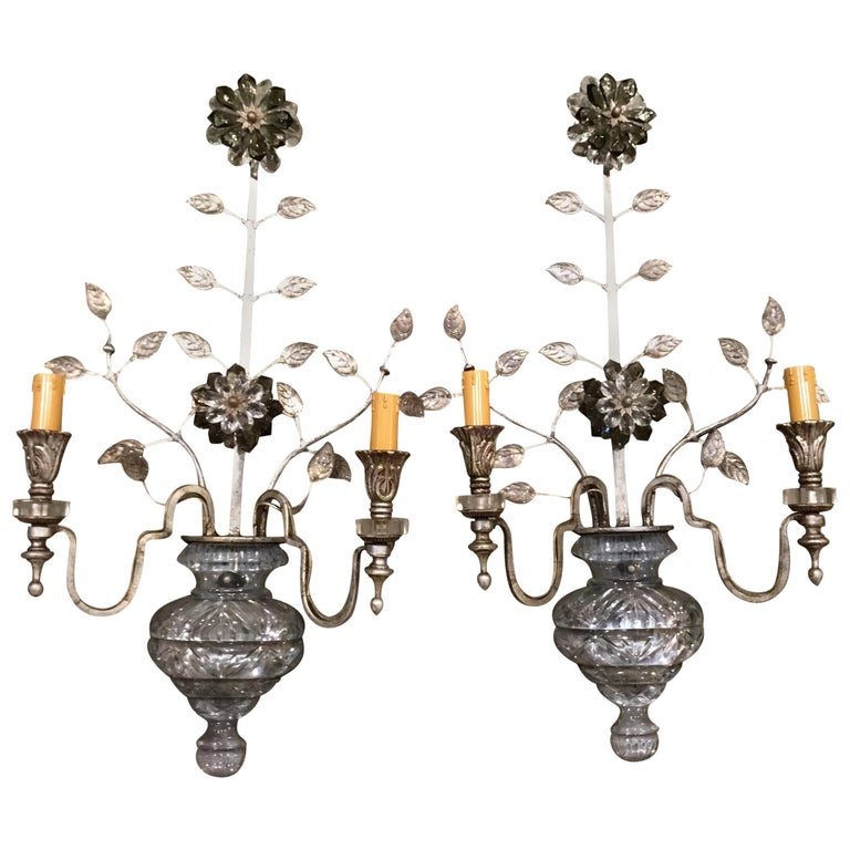 Large Silver Finish and Crystal Maison Baguès Attribute Pair of 2-Light Sconces For Sale