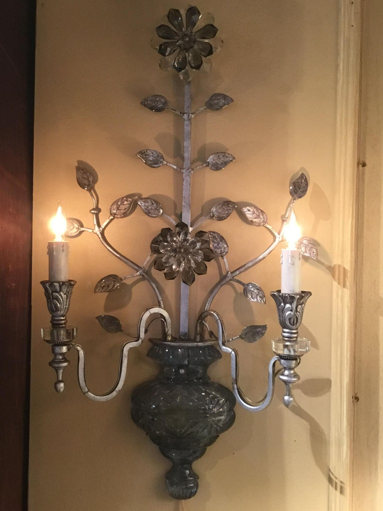 Large Silver Finish and Crystal Maison Baguès Attribute Pair of 2-Light Sconces For Sale 5