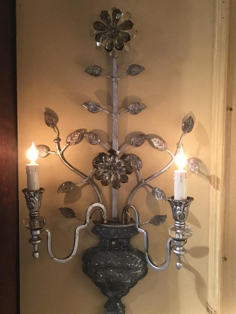 Large Silver Finish and Crystal Maison Baguès Attribute Pair of 2-Light Sconces For Sale 7
