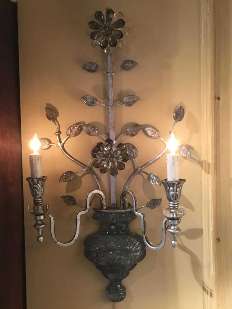Large Silver Finish and Crystal Maison Baguès Attribute Pair of 2-Light Sconces For Sale 8