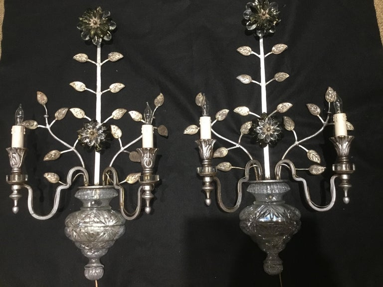 Large Silver Finish and Crystal Maison Baguès Attribute Pair of 2-Light Sconces In Good Condition For Sale In Houston, TX