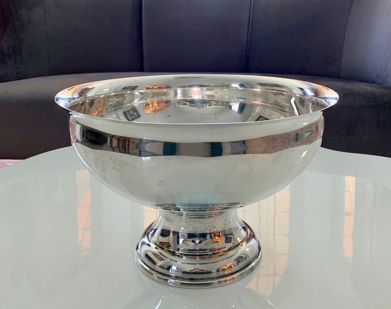 Large Silver Footed Bowl Centerpiece Punch Bowl For Sale 11