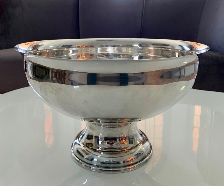 Large Silver Footed Bowl Centerpiece Punch Bowl For Sale 12