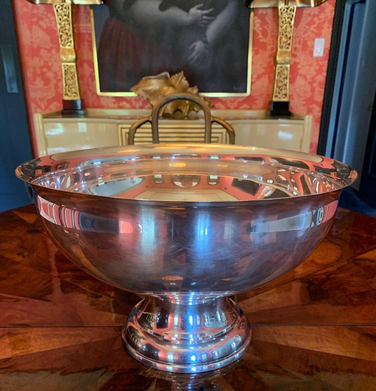 Large Silver Footed Bowl Centerpiece Punch Bowl For Sale 13