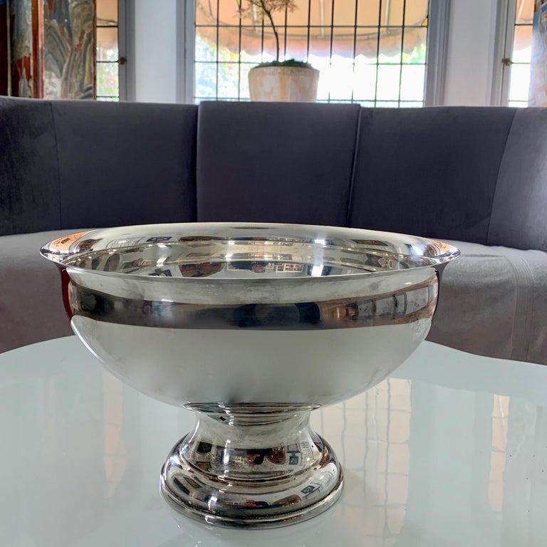 Large Silver Footed Bowl Centerpiece Punch Bowl For Sale 2