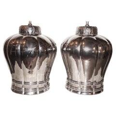 Large Silver Glazed Porcelain Table Lamps