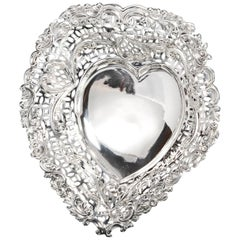 Large Silver Heart Shaped Dish