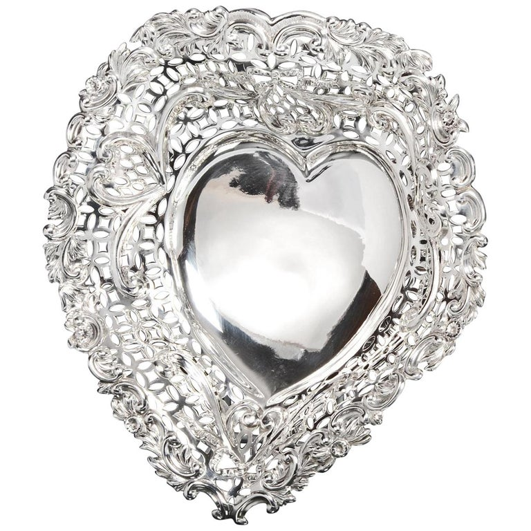 Large Silver Heart Shaped Dish For Sale