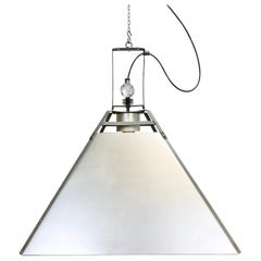 Large Silver Industrial Ceiling Lamp, 1970s