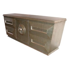 Large Silver Leafed Cabinet by James Mont