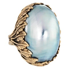 Large Silver Mabe Pearl Ring Vintage 14 karat Gold Leaf Mount Estate Jewelry