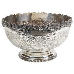 Large Silver Plat Repoussé Punch Bowl by Ellis Barker Silver & Co