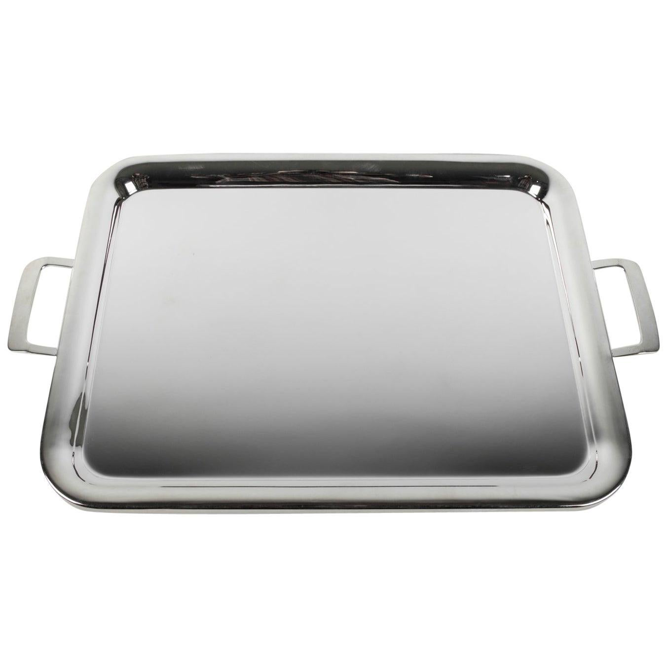 Large Silver Plated Barware or Tableware Tray