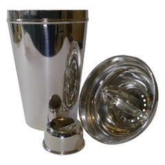 Large Silver Plated Cocktail Shaker With Integral Lemon Squeezer