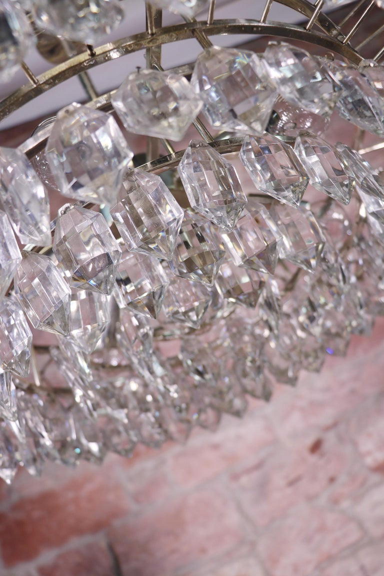 Austrian Large Silver Plated Crystal Chandelier by Lobmeyr / Bakalowits & Sons, Vienna For Sale