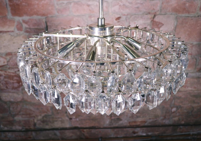 Large Silver Plated Crystal Chandelier by Lobmeyr / Bakalowits & Sons, Vienna In Excellent Condition For Sale In Niederdorfelden, Hessen