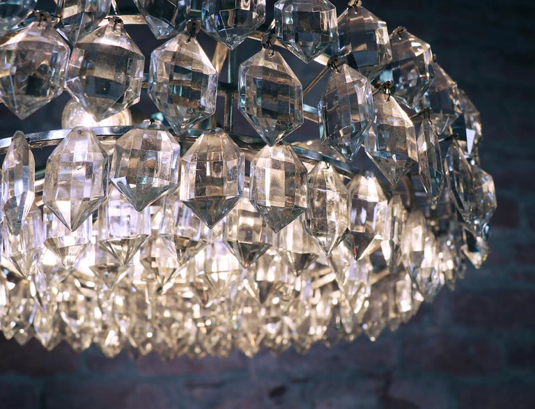 Mid-20th Century Large Silver Plated Crystal Chandelier by Lobmeyr / Bakalowits & Sons, Vienna For Sale