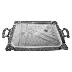 Large Silver Plated Serving Tray with Ornate Engraved Birds, Cherubs and Flowers