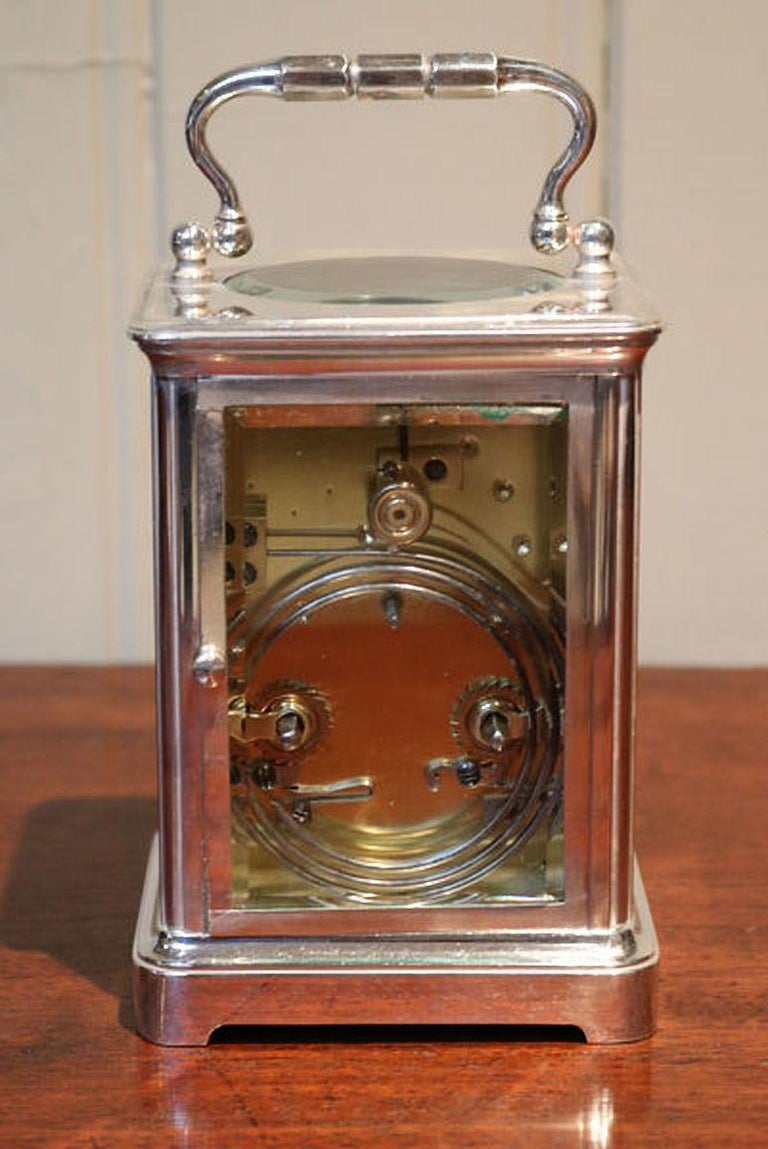 French Large Silver Plated Striking Carriage Clock For Sale