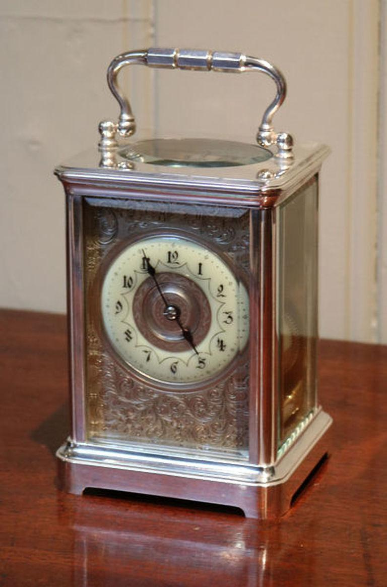 19th Century Large Silver Plated Striking Carriage Clock For Sale
