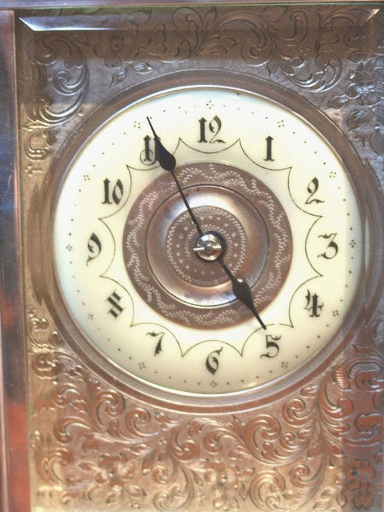 Large Silver Plated Striking Carriage Clock For Sale 1