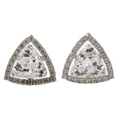 Large Silver Tone and Clear Rhinestone Clip On Statement Earrings circa 1960s