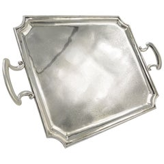 Large Silver Tray with Handles, England, York 1920, 900/- Silver