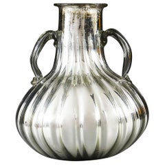 Large Silver Verre Églomisé Glass Vessel or Vase with Hand Blown Handles