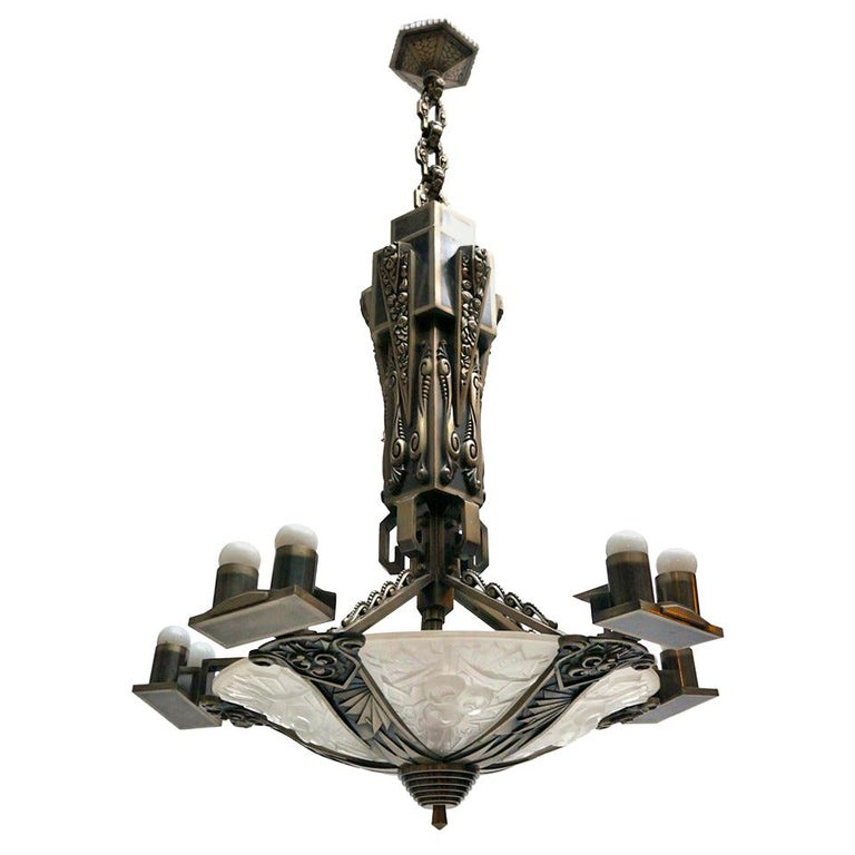 Large Silvered Bronze and Glass Art Deco Chandelier For Sale