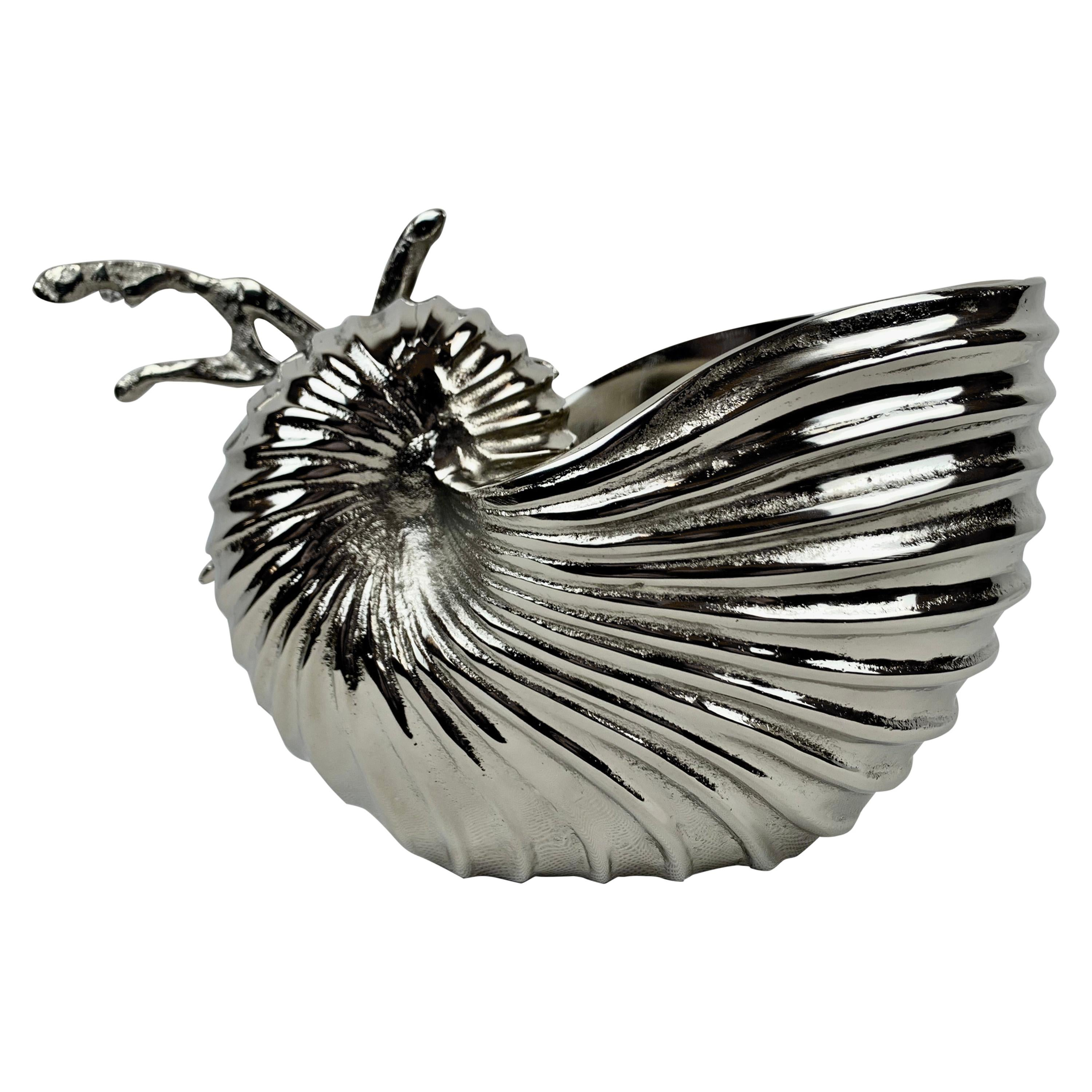 Silvered Nautilus Shell Serving Container/Wine Cooler/Ice Bucket