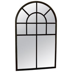 Large Simple Cast Iron Arched Industrial Window with Mirror, France, 1800s