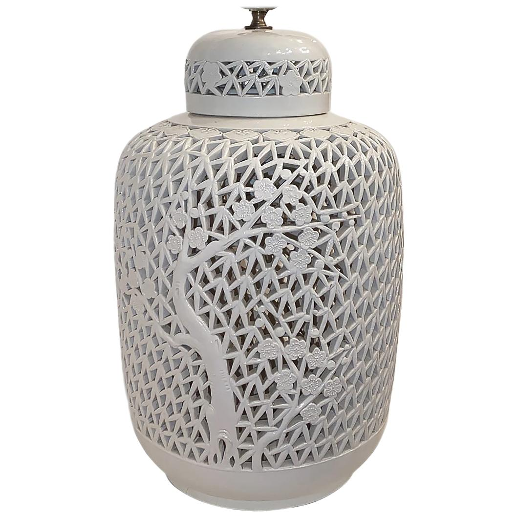 Large Single Blanc de Chine Table Lamp
