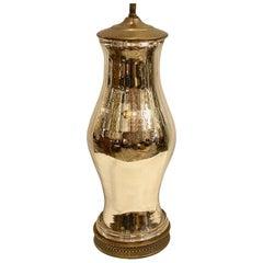 Large Single French Mercury Glass Lamp