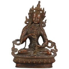 Large Sino Tibetan or Nepalese Bronze Bodhisattva Statue 20th Turqois Inlay