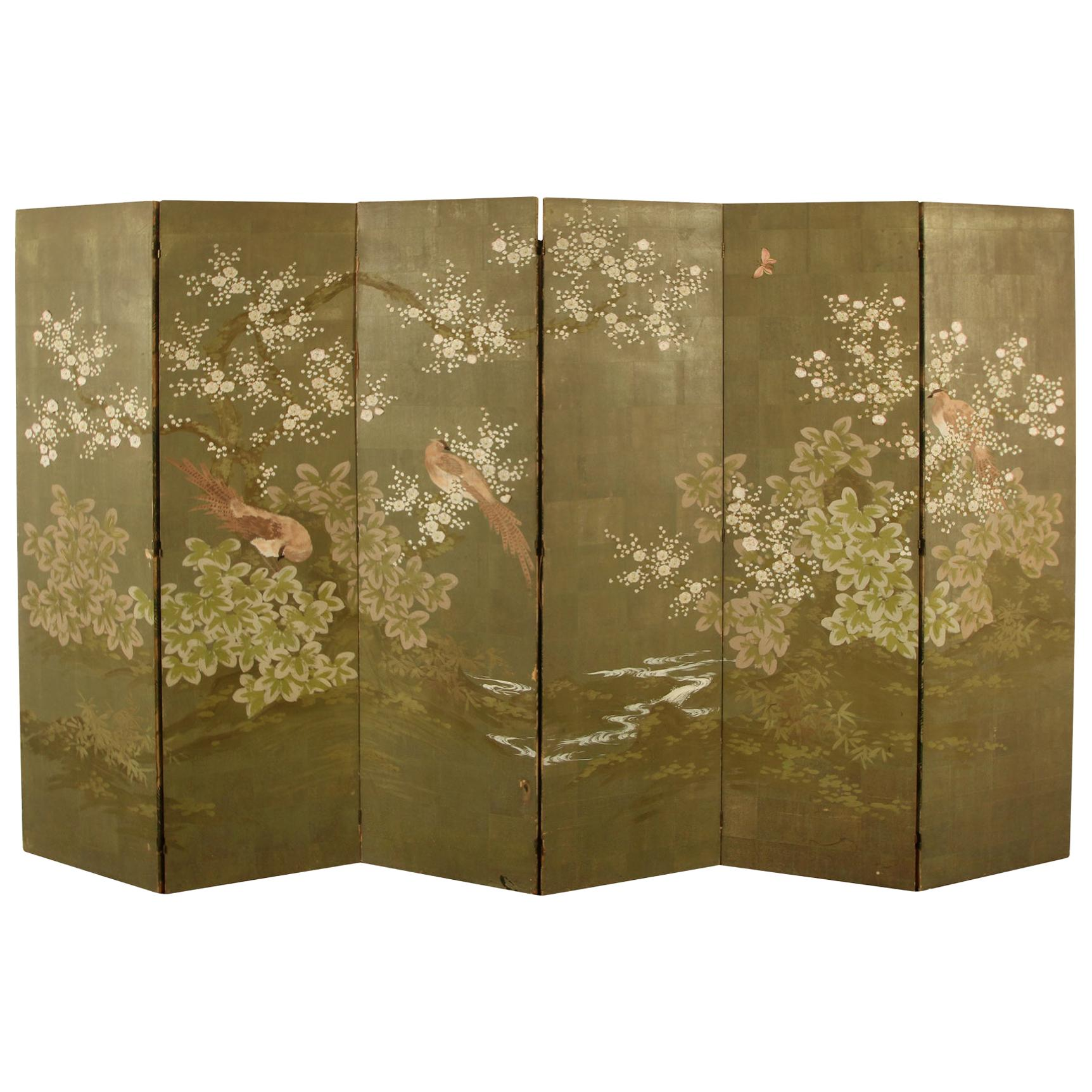 Large Six Panel Robert Crowder Hand Painted Screen with Branches and Birds