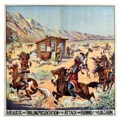Large Six Sheet Original Antique Poster Log Cabin Attack Wild West Show USA