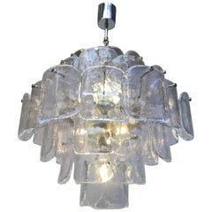Large Six-Tier Carlo Nason Mazzega 1960s Chandelier in Clear Glass and Chrome